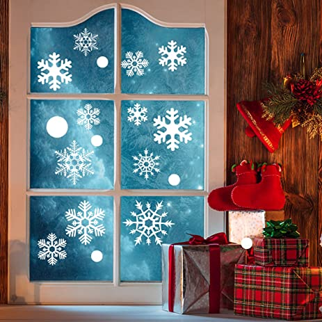 Tinksky Pcs Snowflake Window Clings Glueless PVC Wall Stickers - Snowflake window stickers amazon