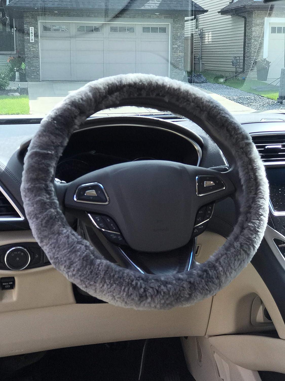 Gray Alberta Shipping Sheepskin Steering Wheel Cover Fuzzy Steering Wheel Cover Fluffy Steering Wheel Cover Fur Steering Wheel Cover Warm in Winter