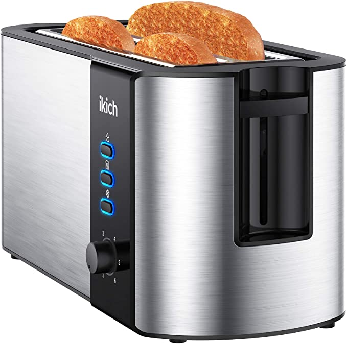IKICH Toaster 4 Slice, Toaster 2 Long Slot Stainless Steel, Warming Rack, 6 Browning Settings, Defrost/Reheat/Cancel, Removable Crumb Tray, 1300W   Amazon