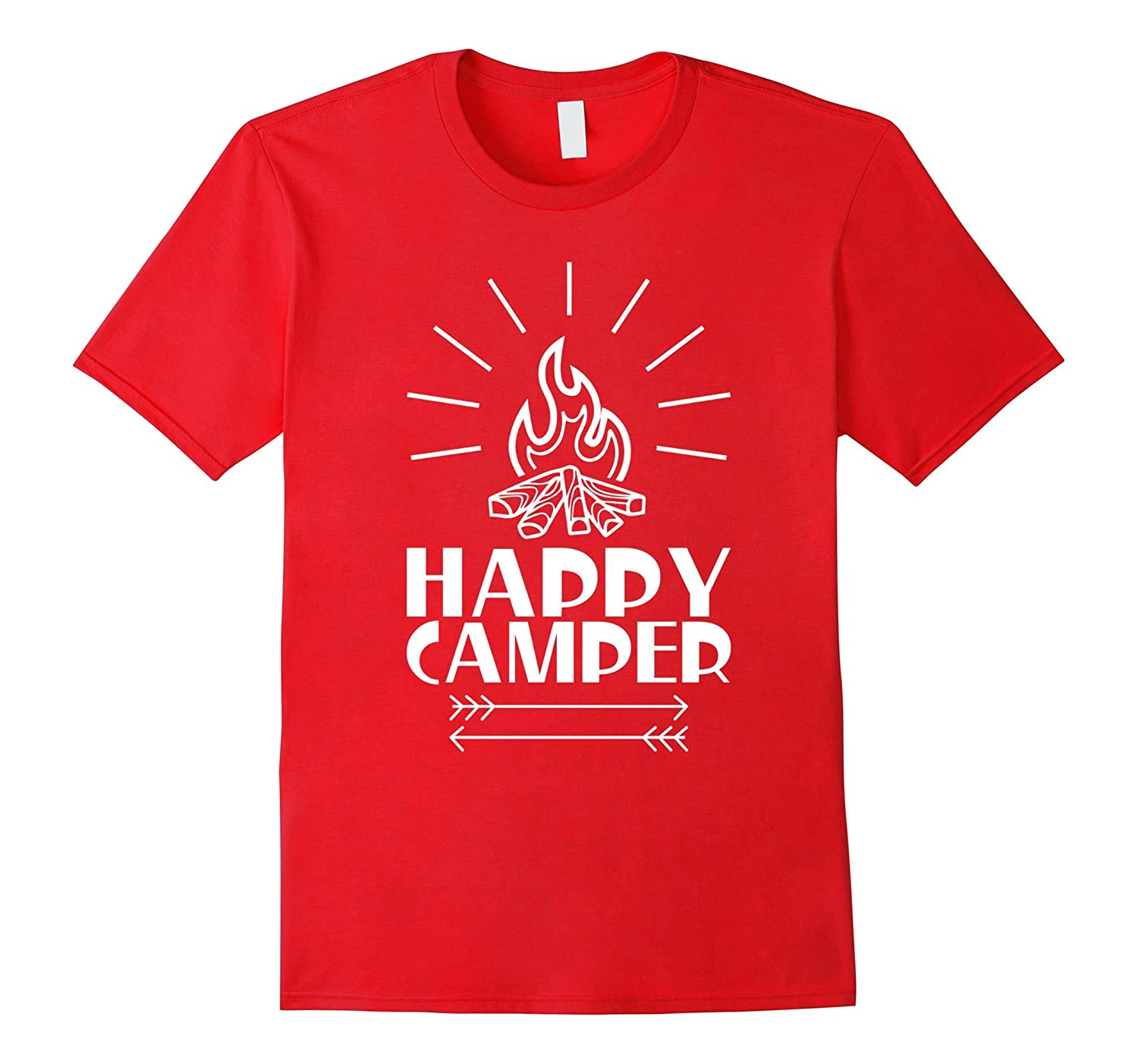 Happy Camper with Fire Tee Shirt for girl boy and kids-Art