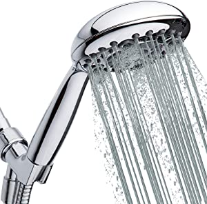 "High Pressure Handheld Shower Head 6-Setting - Luxury 5"" Hand held Rain Shower with Hose - Powerful Shower Spray Even with Low Water Pressure in Supply Pipeline - Low Flow Rainfall Showerhead"