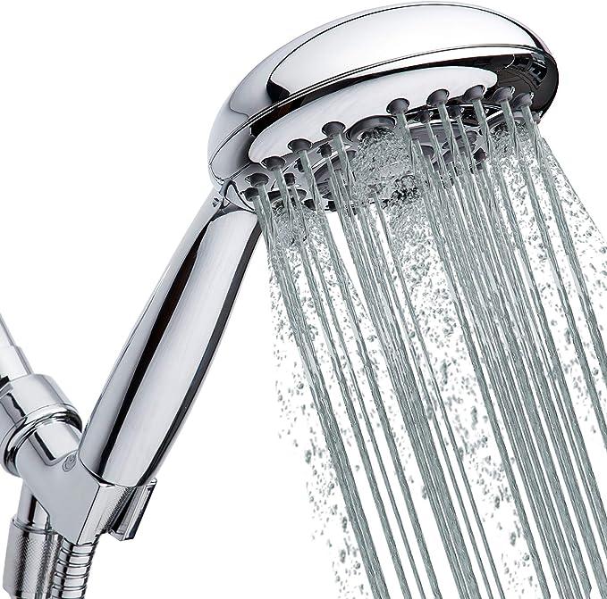 High Pressure Handheld Rain Shower Head 6-Settings and Hose