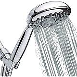 High-Pressure Handheld Shower Head 6-Setting - 5-inch Handheld Rain Shower head with Hose - Powerful Shower Spray Even…