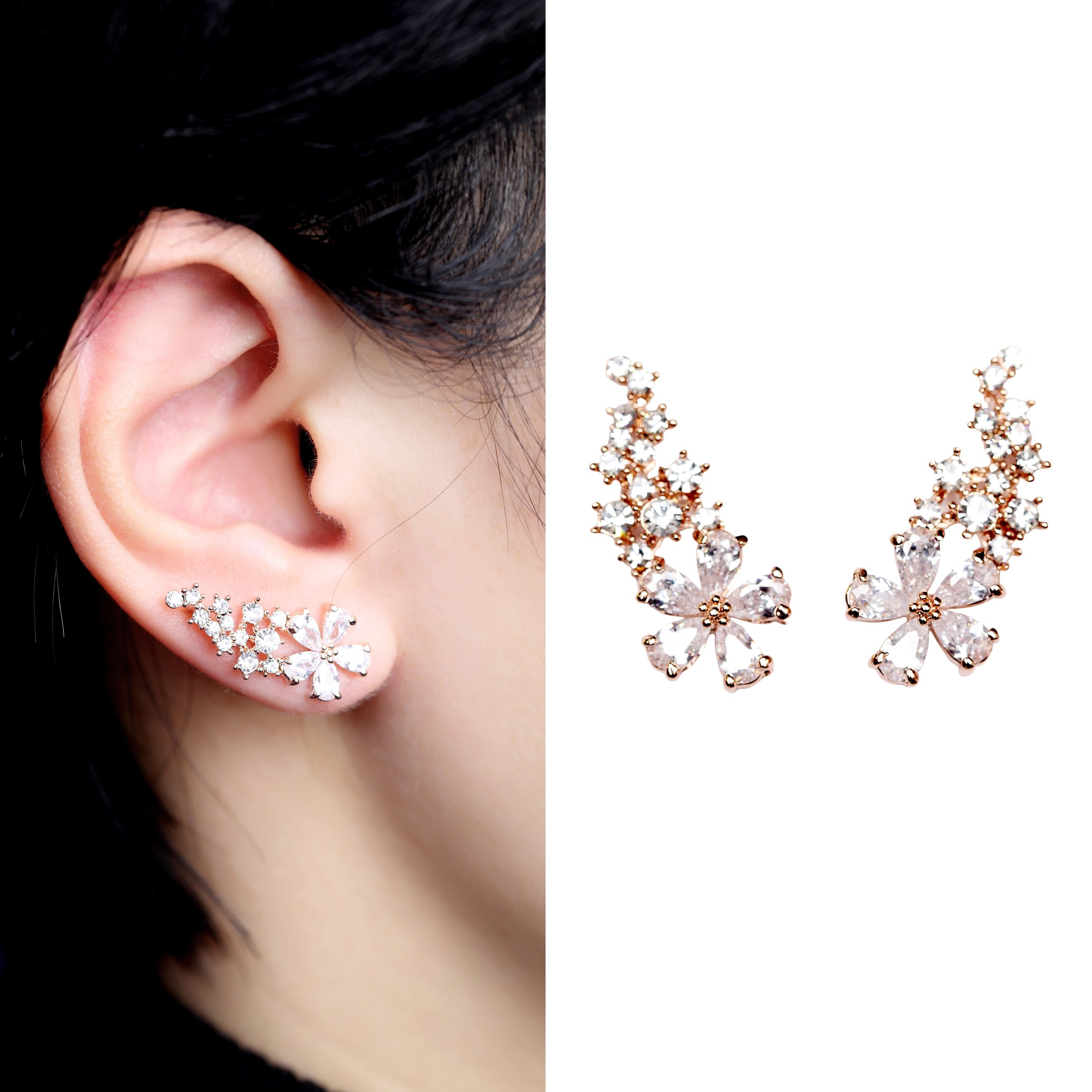 EVERU Pair Women's Bling Crystal Rose Gold Plated Flower Earrings Pierced Wrap Ear Cuff Stud Earrings