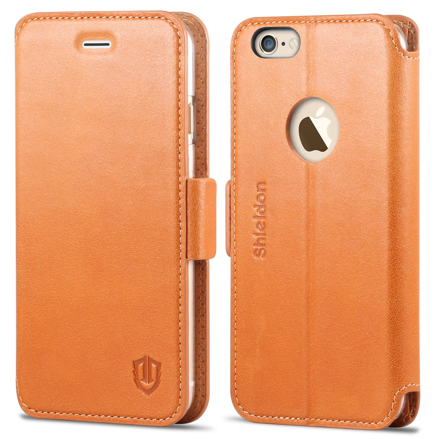 SHIELDON iPhone 6s Case, iPhone 6 case, Genuine Leather Flip Folio [Kickstand Feature] iPhone 6s Wallet Book Case ID&Credit Card Pocket Magnetic Closure iPhone 6/6s - Brown