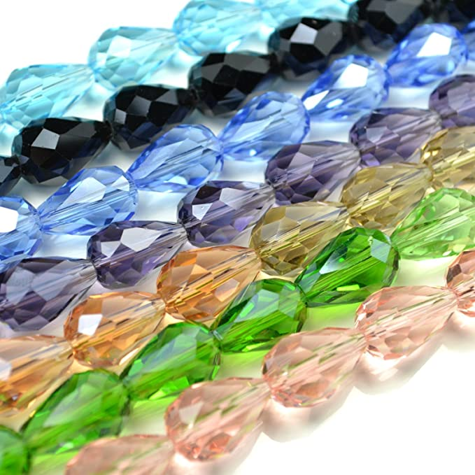 40 X FACETED CUBE CRYSTAL GLASS BEADS 8MM PICK COLOUR