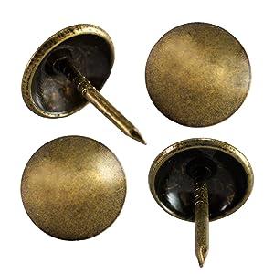 """decotacks Upholstery Nails, Furniture Tacks, Upholstery Tacks, Thumb Tack Push Pins, 7/16"""" - 100 PCS/Box [Antique Brass, French Natural] DX0511AB"""