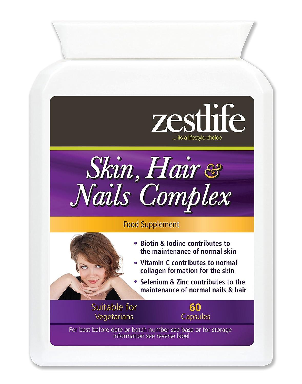Zestlife PIEL, PELO Y UÑAS - BIOTIN Soporte 60 cápsula | Una fórmula nutritiva integral de vitaminas, minerales, aminoácidos y antioxidantes que ayuda a ...