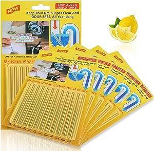 60 Pieces Drain Sticks Drain Cleaner Sticks Drain Deodorizer Sticks Non-Toxic for Kitchen, Bathroom and Laundry, 5 Sets (Color Set 3)