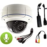 USG 5MP IP Dome Security Camera With Audio Microphone Kit: PoE + 2.8-12mm Varifocal Lens + RCA Audio-In+Out + IR LEDs 115 Feet Night Vision + IR-Cut + IP66 NEMA 4x Outdoor Rated + ONVIF