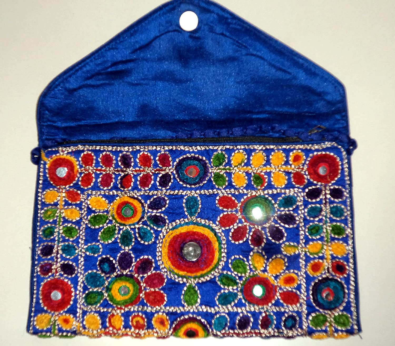 Triveni Art /& Crafts Indian Ethnic Gypsy Clutch Handmade Kutchi Work Embroidery Clutch Bag Purse Boho Hobo