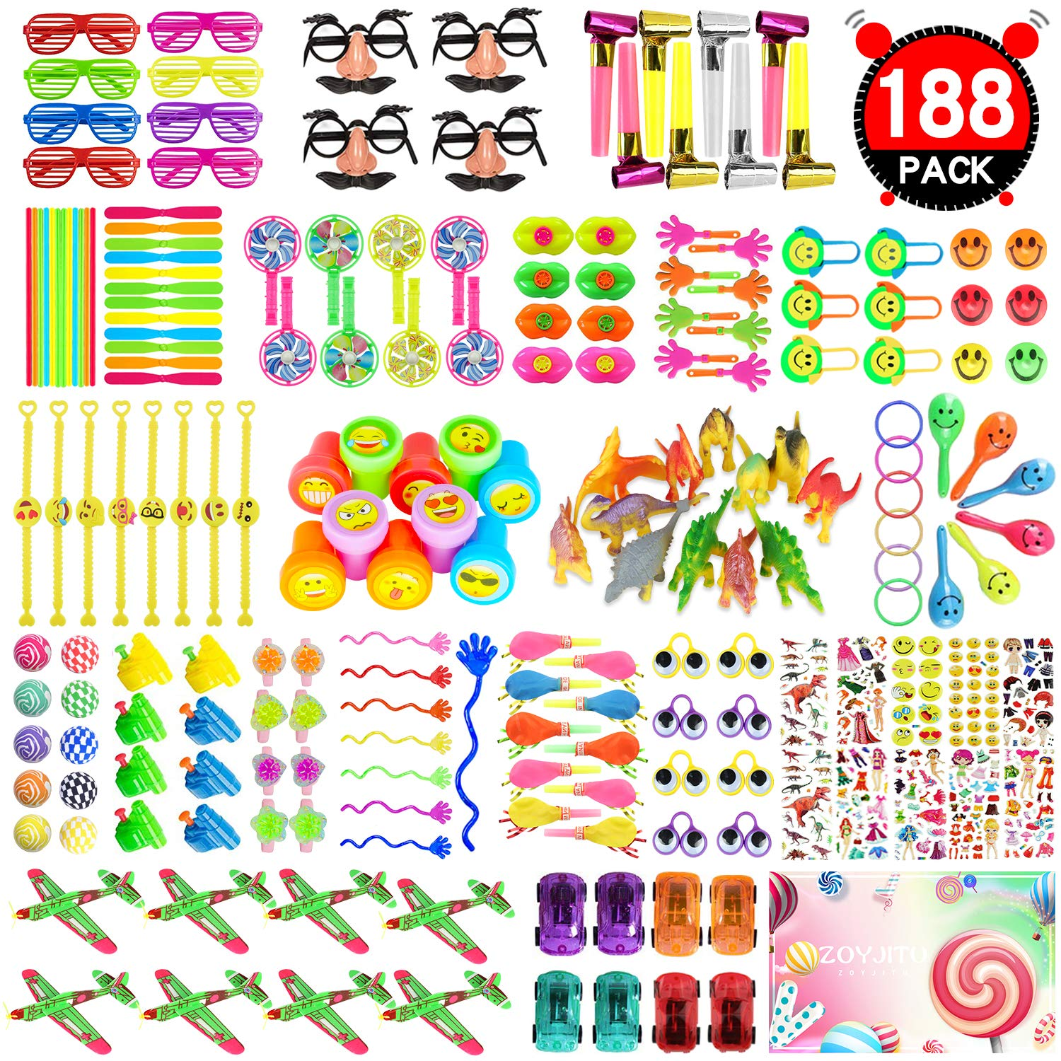 ZOYJITU Party Prize,Party Favor for Kids Toy Assortment, 188PCS Treasure Box Prizes for Classroom,Birthday Party, Kids Birthday Party Favors for Goodie Bag Fillers, Assorted Pinata Fillers by ZOYJITU