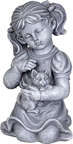 Exhart Child Kitten Garden Statue Imitation Stone Statue of Little Girl Cat Child Art Resin Decor Best
