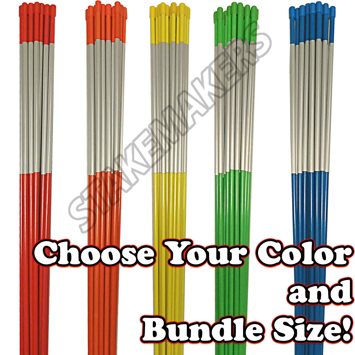 Driveway Markers, Choose Your Bundle Size and Color! | Snow Stakes, Plow Stakes, Fiberglass, Multipack, Reflective Tape, 5/16'', 1/4'' (100, Orange) by Stakemakers