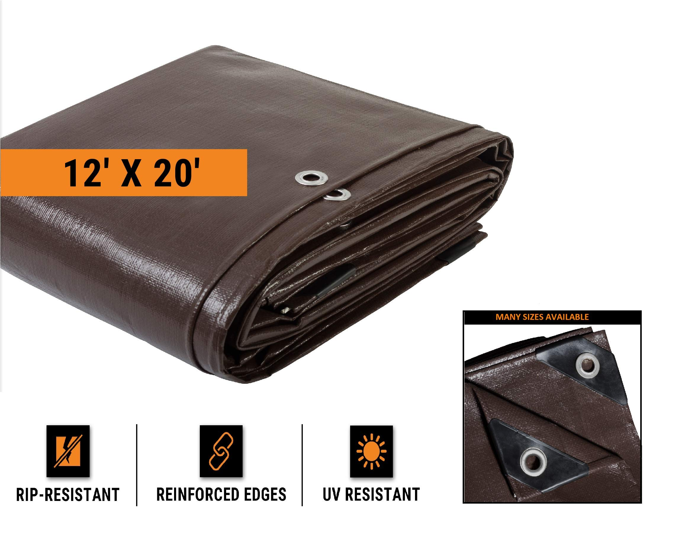 12' x 20' Super Heavy Duty 16 Mil Brown Poly Tarp Cover - Thick Waterproof, UV Resistant, Rot, Rip and Tear Proof Tarpaulin with Grommets and Reinforced Edges - by Xpose Safety