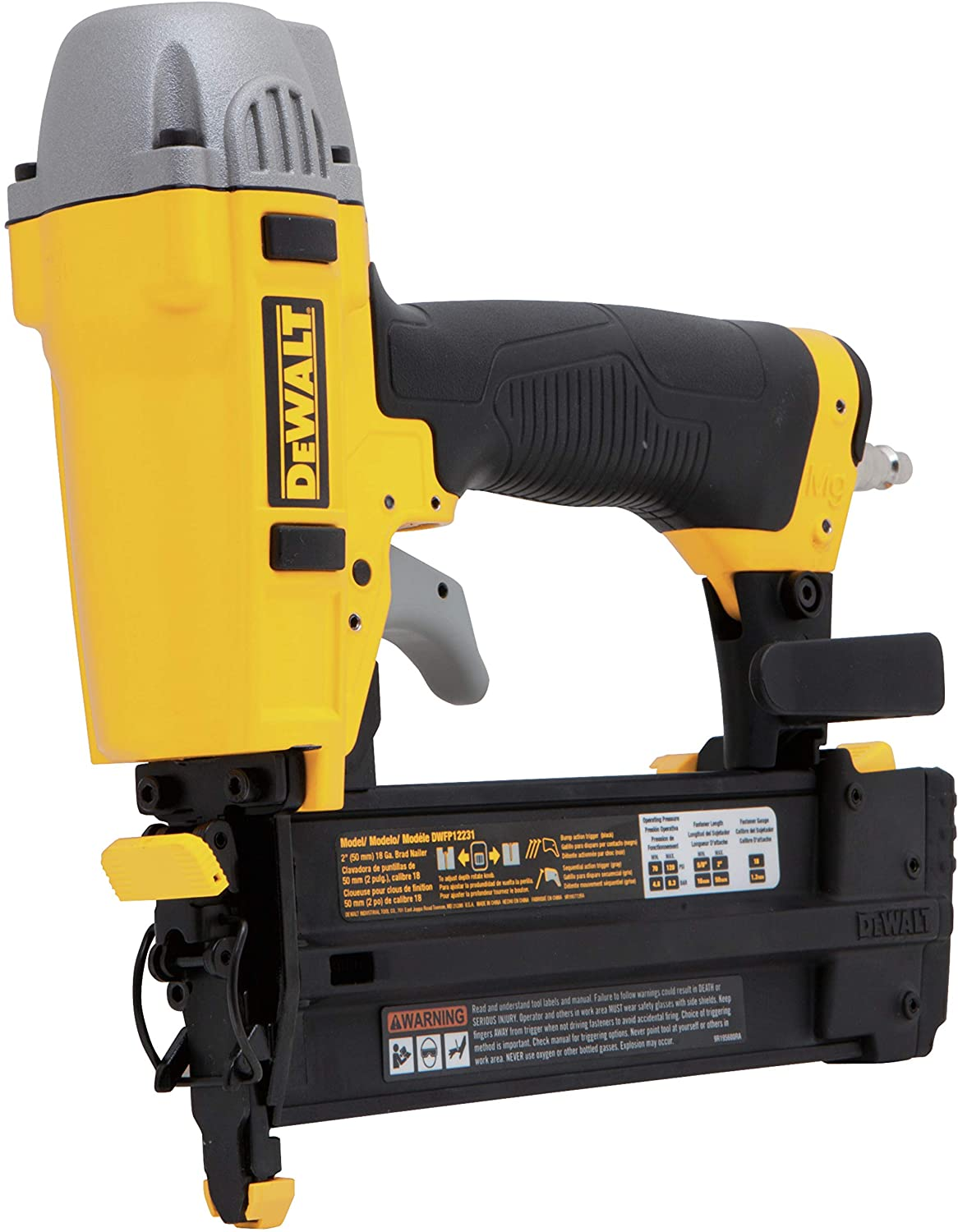 3. DeWALT DWFP12231 Pneumatic Brad Nailer Kit