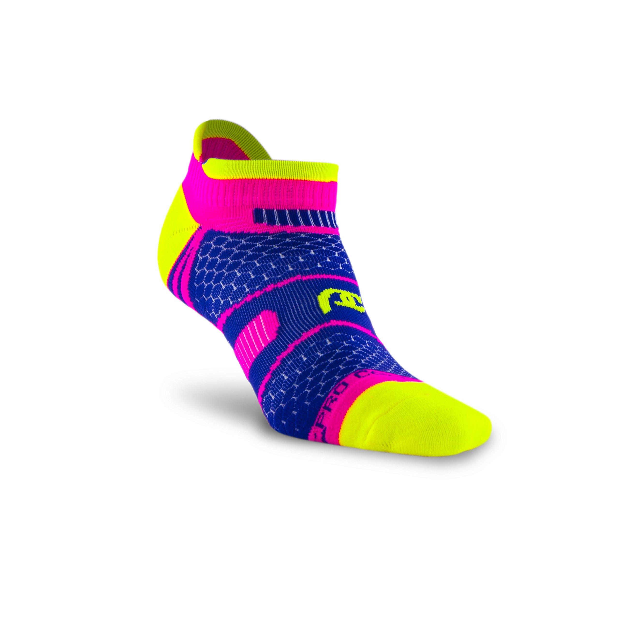 PRO Compression: PC Runner (Low-Profile) Compression Socks, Pink/Purple/Neon, Small/Medium