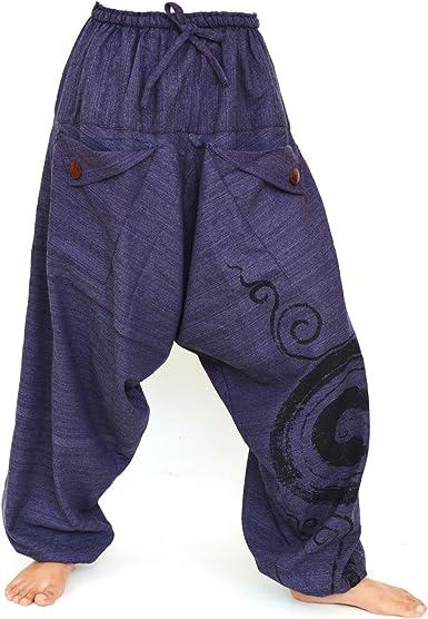 SHC Pantalones Harem Bombachos para Hombre y Mujer 100% algodón ...