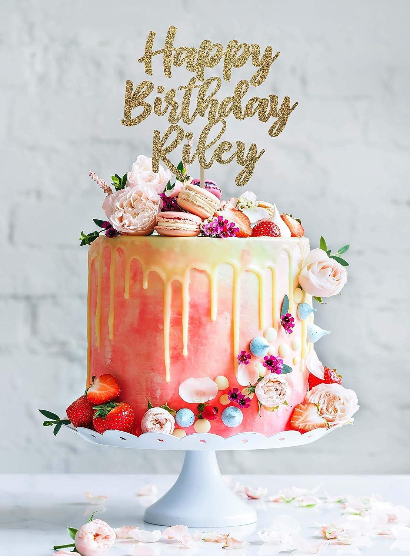 Amazon Com Kiskistonite Happy Birthday Cake Topper Custom Cake