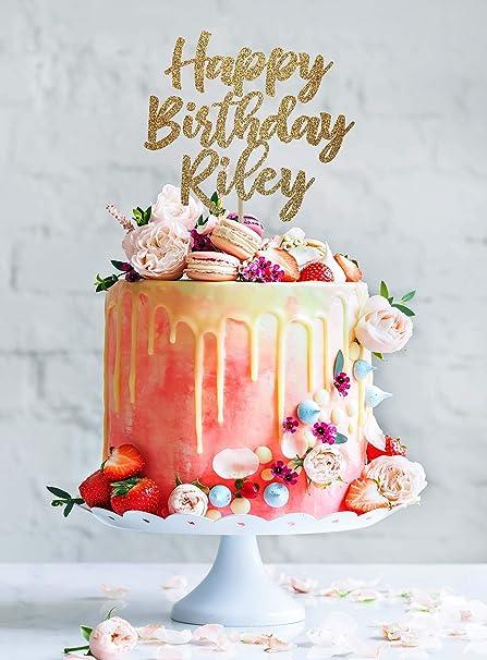 KISKISTONITE Happy Birthday Cake Topper Custom Personalized Elegant Design