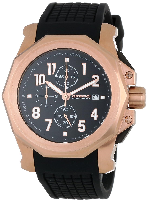 Orefici ORM6C4403 Herren-Schwarz-Kautschukband Schwarzes Zifferblatt Chronograph Watch
