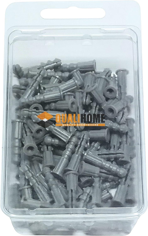 "Premium Quality Grey Ribbed Plastic Anchors, 100 Pack (#6-8 x 7/8"")"