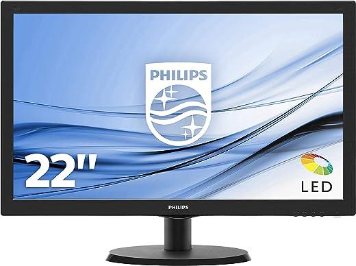 "Philips Monitor 223V5LSB2 Monitor per PC Desktop 21,5"" LED, Full HD, 1920 x 1080, 5 ms, VGA, Attacco VESA, Nero"