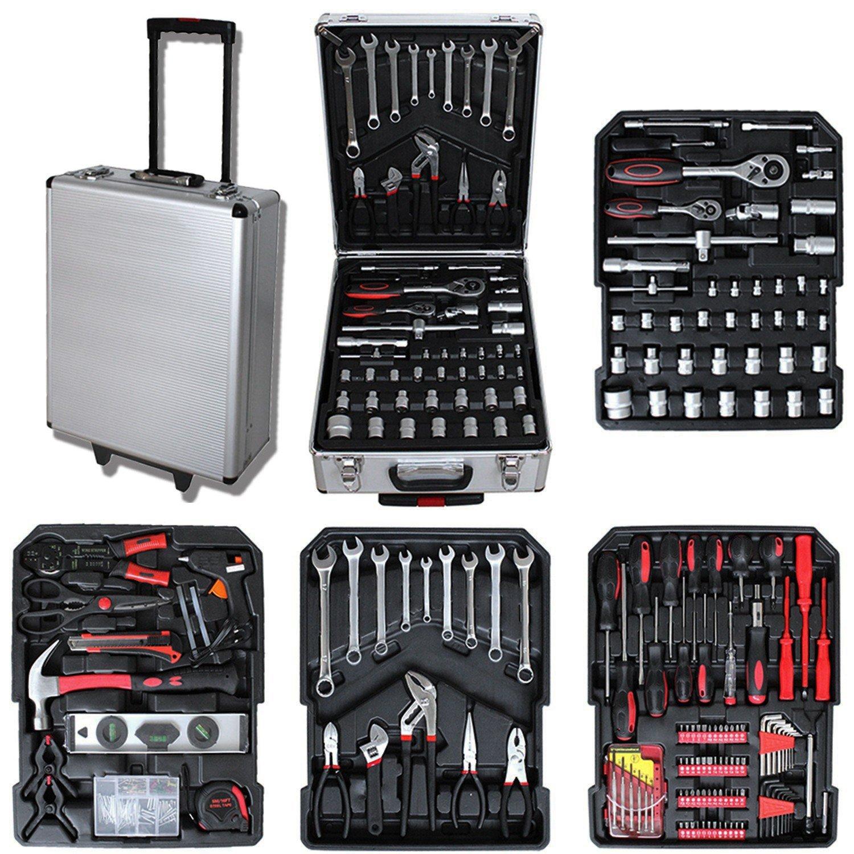 Todeco - Malette à Outils, Valise de Bricolage - Dimensions: 50 x 37 x 23 cm - Matériau: Acier au carbone - Avec mallette en aluminium et poignée télescopique, 251 outils
