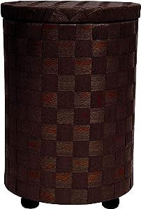 "Oriental Furniture 26"" Natural Fiber Laundry Hamper - Mocha"