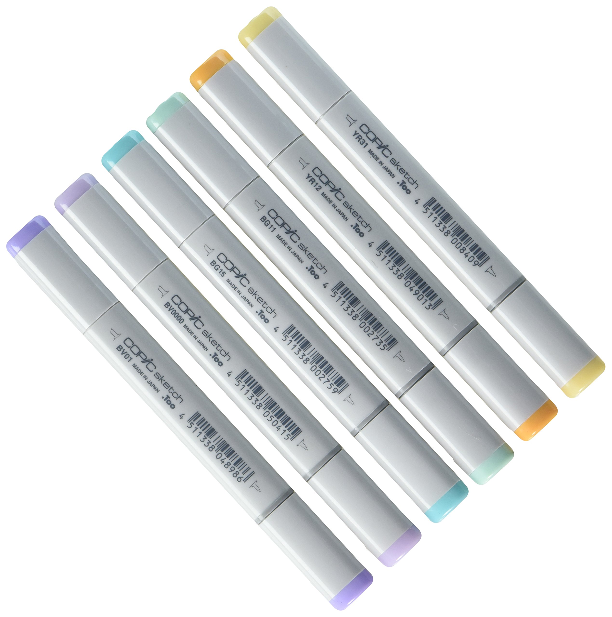 Copic Marker 6-Piece Sketch Set, Pale Pastels