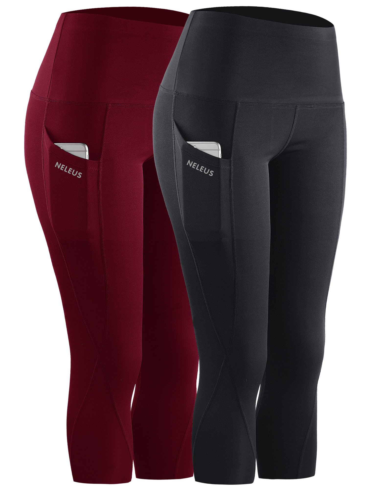 Neleus 2 Pack Tummy Control High Waist Workout Yoga Capri Leggings,9027,Black,Dark red,US S,EU M