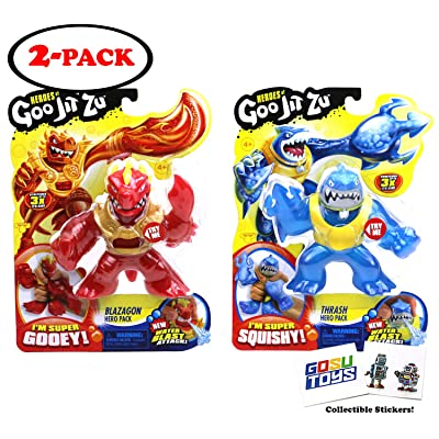 Heroes of Goo JIT Zu (2 Pack) Blazagon, Thrash, Series 2 Water Blast Attack with 2 GosuToys Stickers: Toys & Games