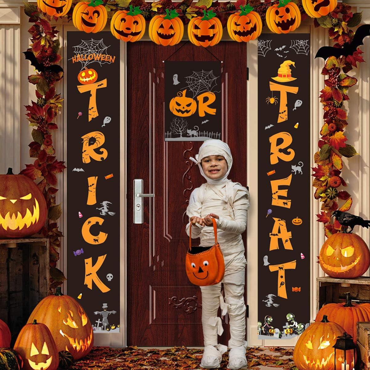 Idefair Halloween Decorations Outdoor, Halloween Banner Trick or Treat Halloween Porch Sign Hanging Banner for Front Door Indoor Home Party Decor with Pumpkin Bat