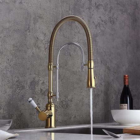 Kitchen Sink Faucet,Pro-Style Single-Handle Pull-Down Spring Kitchen Faucet Cons