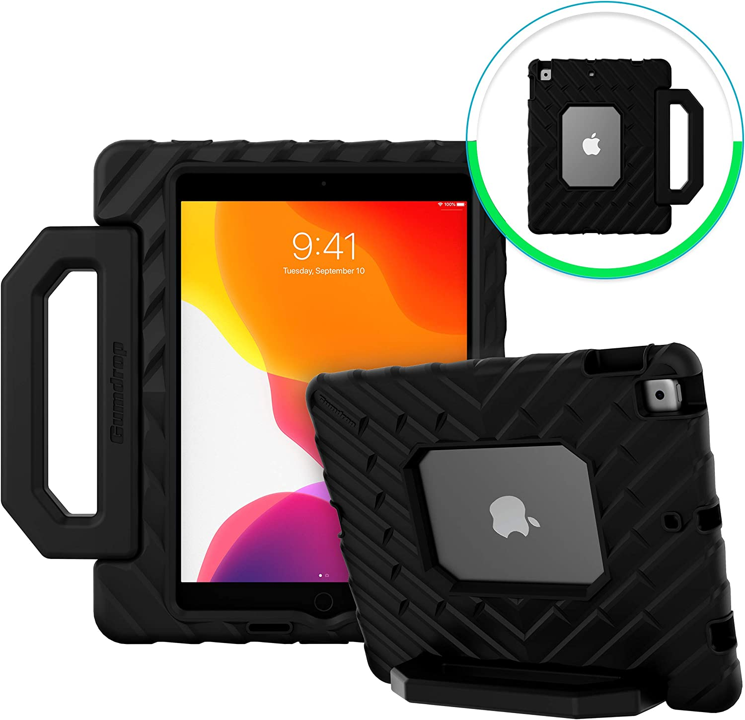 GumDrop FoamTech Case Designed for The New Apple iPad 10.2 7th Gen (2019) Tablet Commercial, Business and Office Essentials- Black, Rugged, Shock Absorbing, Extreme Drop Protection (02A002E01-0)