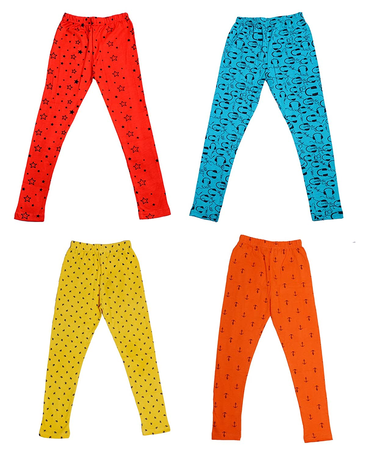 Pack of 3 Indistar Girls Super Soft and Stylish Cotton Printed Churidar Legging