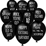 Funny Abusive Old Age Birthday Party Balloons - Pack of 32 with 10 Different Phrases