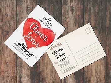 Einladungen Zur Hochzeit (50 Stück) Save The Date Mit Rückantwort (Rot)