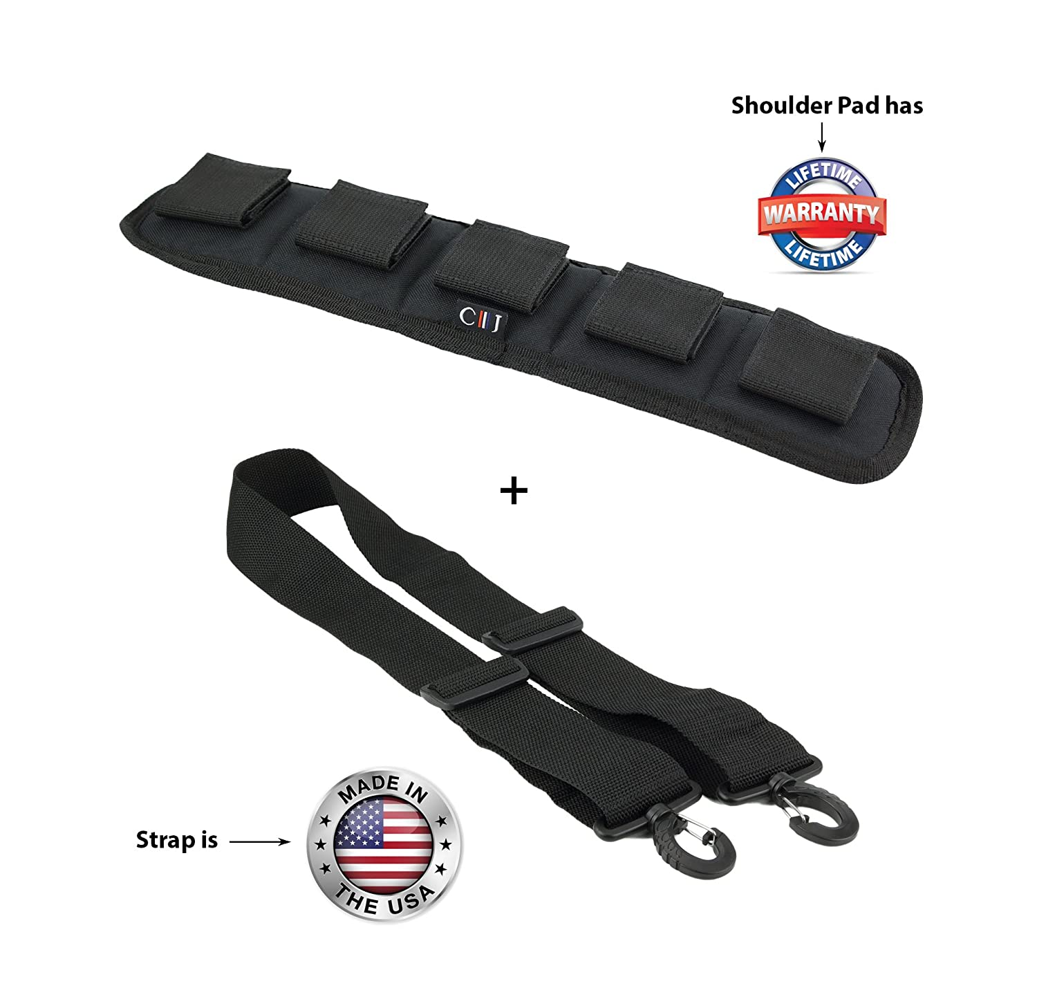 0c4876c9260d Made in USA 2W x 60L Black Poly Web Replacement Shoulder Luggage Travel Bag  Strap Plastic Hardware with Heavy Duty Shoulder Pad