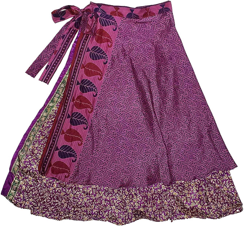 Jedzebel /¾ Length Reversible Patchwork Silk-Blend Sari Wrap Skirt DN20