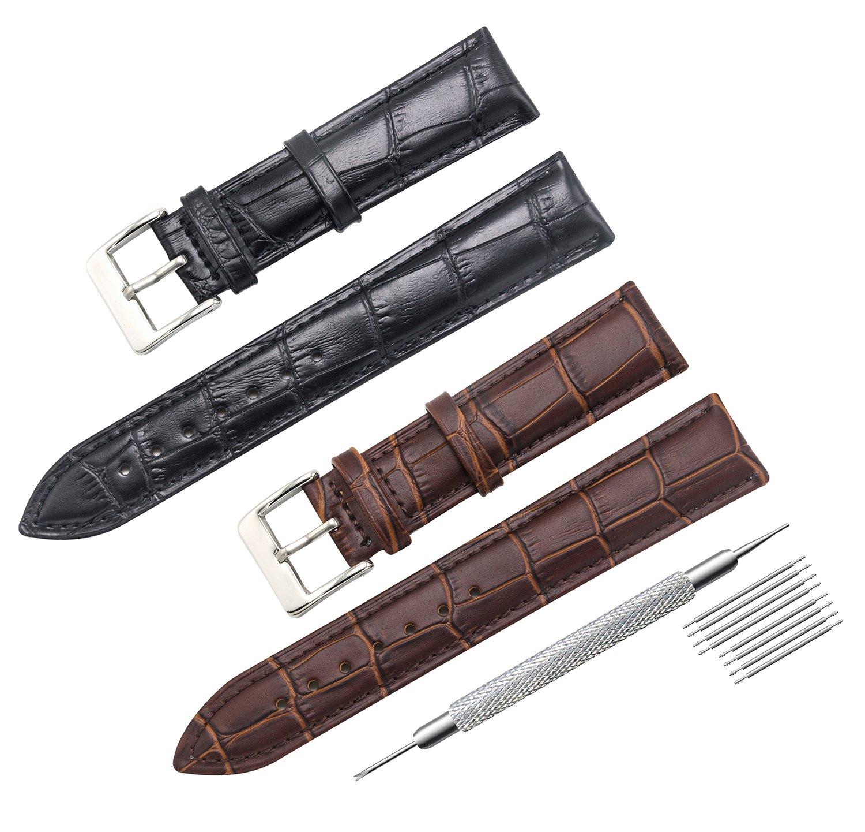 CIVO 2 Packs Genuine Leather Watch Bands Top Calf Grain Leather Watch Strap 16mm 18mm 20mm 22mm 24mm for Men and Women (20mm, Black/Dark Brown)
