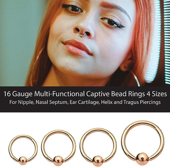 Amazon Com Bodyj4you 8pc Ball Closure Ring Bcr Hoop 16g Nose Lip Ear Tragus Nipple Rose Goldtone Body Jewelry Jewelry