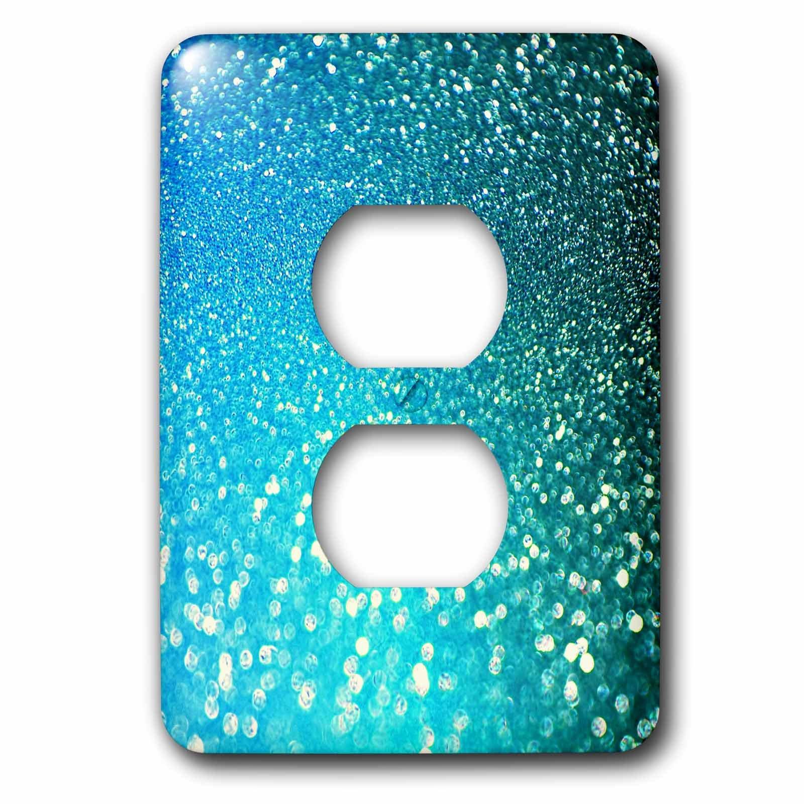 3dRose Uta Naumann Faux Glitter Pattern - Sparkling Beach Blue Luxury Elegant Mermaid Glitter Effect Art print - Light Switch Covers - 2 plug outlet cover (lsp_266918_6)