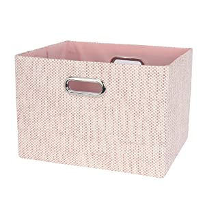 Lambs & Ivy Pink Foldable/Collapsible Storage Bin/Basket Organizer with Handles