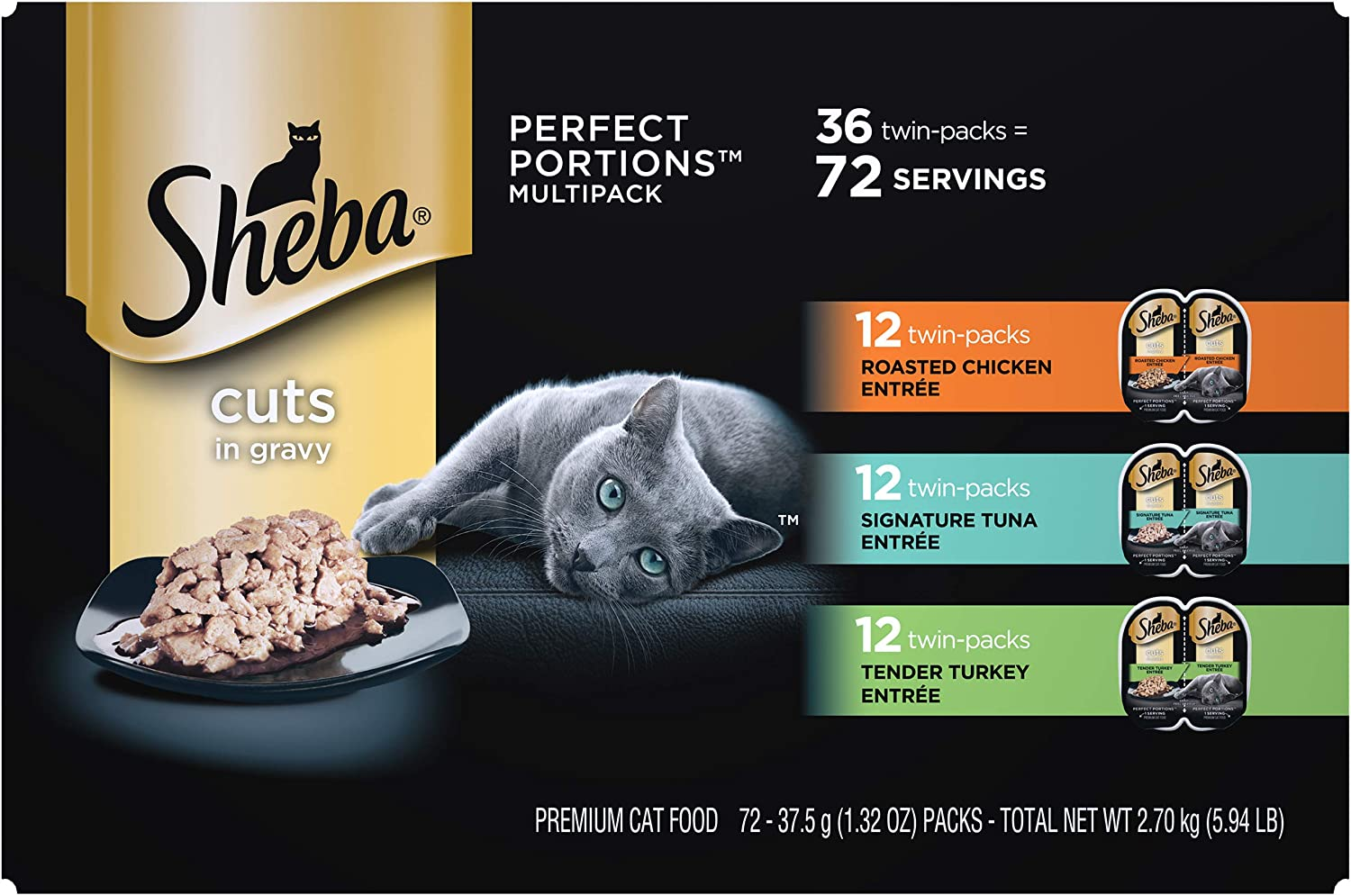 SHEBA Perfect PORTIONS Soft Wet Cat Food Cuts in Gravy Roasted Chicken Entrée, Signature Tuna Entrée, Tender Turkey Entrée Variety Pack, (36) 2.6 oz. Easy Peel Twin-Pack Trays