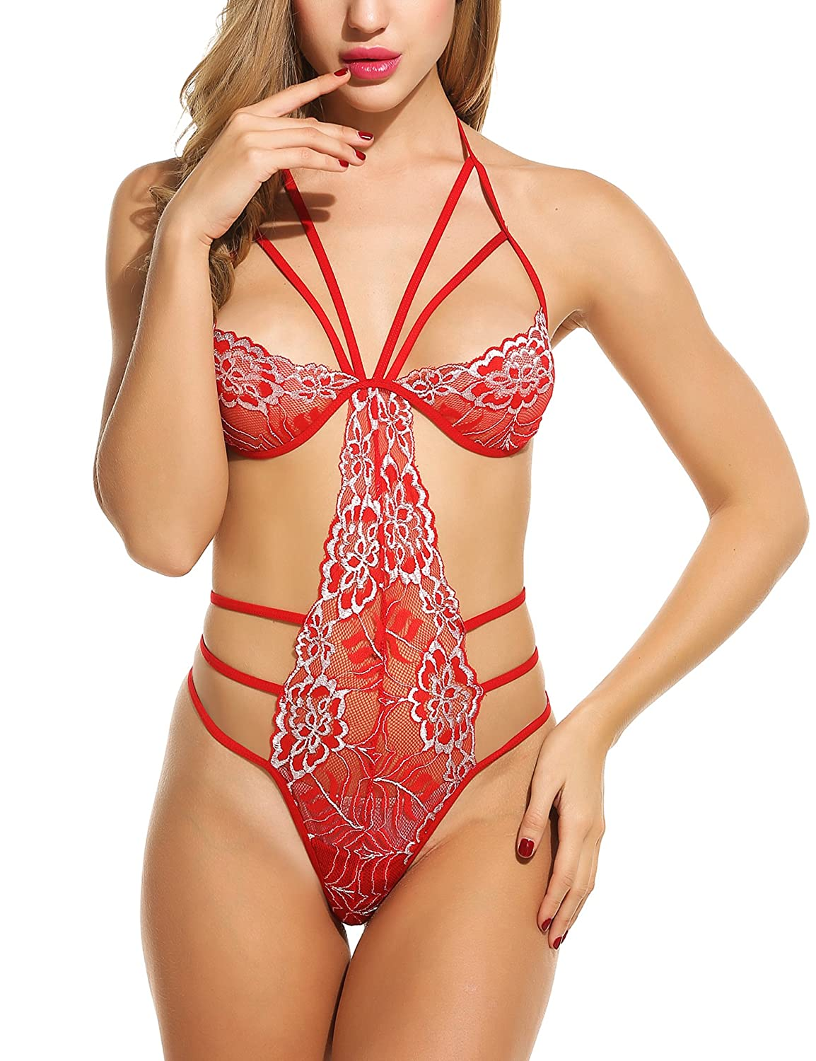 bf24d05ab5 Avidlove Sexy Teddy Lingerie for Women One Piece Halter Lace Babydoll  Bodysuit at Amazon Women s Clothing store