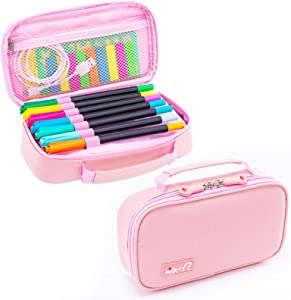 Briout Big Capacity Pencil Cases, Large Storage Pencil Pouch Boxes Stationery Organizer with Double Zipper for School Supplies School Office Travel Stuff –Black (Pink)
