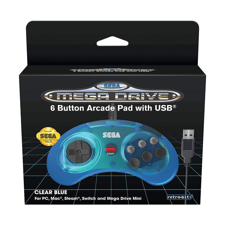 Retro-Bit Official SEGA Mega Drive USB 6-Button Controller for MEGA DRIVE MINI CONSOLE, PC, Switch, Mac, Steam, RetroPie, Raspberry Pi - Clear Blue (Nintendo Switch///)