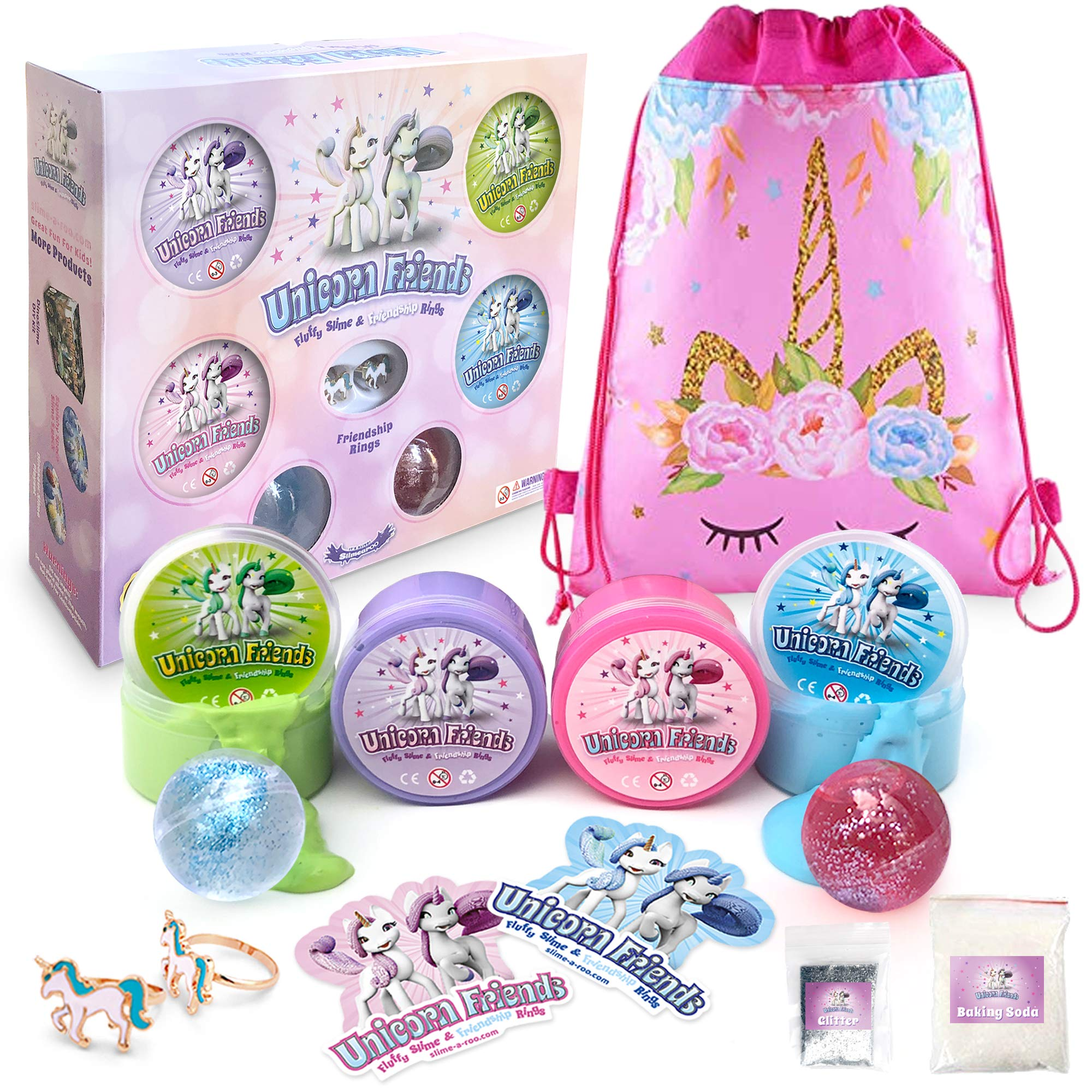 Unicorn Slime Kit for Girls Friends - Fluffy Cloud Poop Slime Kit with Glitter Toy Set - Includes Friendship Rings Gift Set Surprise by Slime-a-Roo