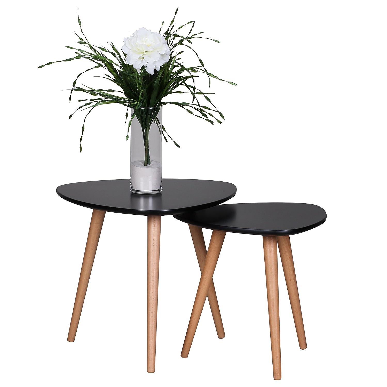 Wohnling wl1.702 Retro Set de table - 2 pièces - scanio MDF - noir mat